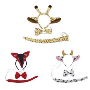 3PCS 어린이 성인 3D 동물 폭스 암소 귀 머리띠 꼬리 세트 생일 파티 포스트 할로윈 의상