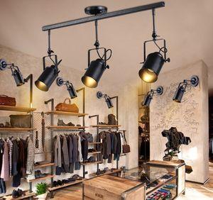 Retro Loft Vintage LED Track Light Industriale Lampada da soffitto Bar Abbigliamento riflettori di personalità Luce Tre teste LLFA