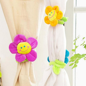 1PCS Cartoon Curtain Clasps Clip Buckle Smile Sunflower Plush Flexible Tieback Holdback Holder Toy Home Decor