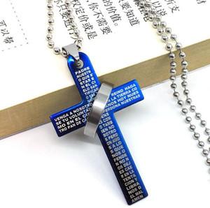 حار بيع الكتاب المقدس الصليب الدائري الدائري التيتانيوم الصلب قلادة الفولاذ المقاوم للصدأ الرجال زوجين قلادة WFN028 (مع سلسلة) مزيج النظام 20 قطعة