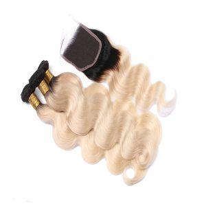 Beautyful Products شقراء بيرو أومبير عذراء الشعر مع إغلاق 1B 613 أومبير موجة الجسم مع إغلاق البلاتين شقراء نسج الشعر
