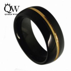 Queenwish Düğün Nişan Yüzükleri 8mm Siyah Tungsten Eternity Bantları 24 K Altın kaplama Gelin Setleri Merkezi Yivli Cilalı Satement Takı