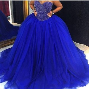 2020 Nouveau magnifique bleu royal Quinceanera robe de bal robes chérie cristal perles Tulle Balayer Taille train plus Prom Party Robe du soir