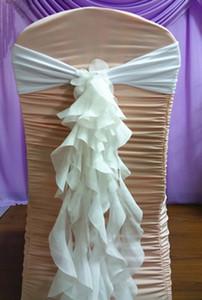 결혼식 의자 Sash Ivory Organza Ruffles 섬세한 파티 장식이 선물 용품 의자를 찬성합니다