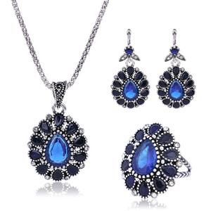 Delicate Mulheres Coreano Verde + Vermelho Azul Cristal pedras semi-preciosas Três Peças Colar Brinco e Anéis Conjuntos de Jóias para Atacado