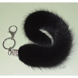 MS.MinShu Marca Mink Chaveiro Mink Cauda Chaveiro Real Mink Bag Charme Natural Fur Toy genuíno Chaveiro de Pele Natural