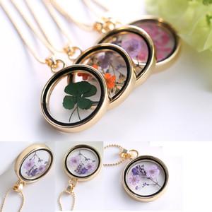 Mix stil Clover altın kaplama renkli kurutulmuş çiçek yuvarlak kolye Yonca kayan madalyon takılar kolye kolye için kadın hediye