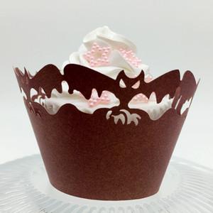 هالوين الزينة الليزر قطع الخفافيش المجمع cupcake زينة بالجملة ل هالوين الحزب ، الخبز كب كيك تزيين