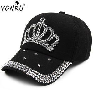 Wholesale- VONRU New Crown Strass Baseballmützen Mode Jean Hip-Hop Hut Frauen-Denim-Baseballmütze Sonnenhut
