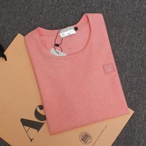 2017 Primavera Verão Estilo New Studios AC Sorriso Rosto T shirt Norte Da Europa Marca Pure Color Algodão de Manga Curta T camisas tee