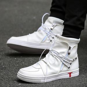 2017 الهيب هوب روك الرجال الأحذية الأزياء كاني ويست أحذية الخريف لينة جلد الأحذية العالية أعلى عارضة أحذية نجم أبيض أسود