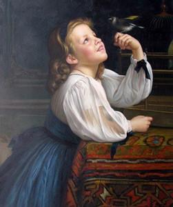 Gerahmtes kleines Mädchen mit einem Vogel Bild, reine handgemalte Porträtkunst Ölgemälde auf dicken Canvas.Multi Größe lyw