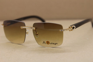 оптовая классическая модель моды T8300816 очки без оправы черный рог буйвола Солнцезащитные очки Big Алмазная Солнцезащитные очки C Украшение Размер рамки: 54