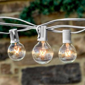 Vintage chaîne lumineuse 25Ft clair globe ampoule G40 chaîne lumineuse avec 25 * 5W ampoules G40 Patio Lights fête de Noël chaîne 3COLORS câble