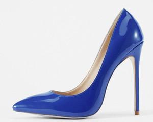 패션 12cm 힐 여자 누드 특허 가죽 가죽 발가락 발 뒤꿈치, Desiger 플랫폼 얕은 입 여성의 복장 신발 블랙 펌프