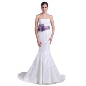 High Quality 2017 Women Wedding Dress With Belt Handmade Flowers Sweetheart Corset Back Bridal Mermaid Dress