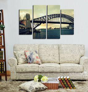 시드니 큰 다리 아름다운 풍경 Frameless Paintings 4pcs (No Frame) 캔버스 월 아트에 인쇄 된의 HD 인쇄 그림