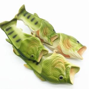 Nuevo diseño de los pescados del estilo suave sandalias de playa zapatos de los deslizadores ocasionales para las mujeres de los hombres de la familia zapatillas tipo de creatividad hechas a mano de los niños Peces Personalidad