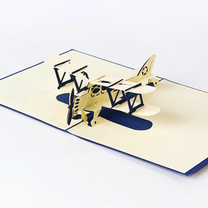 New Easter Day 3D Pop Airplane Handmade Best Wish Greeting Card Kirigami Gift KT0344