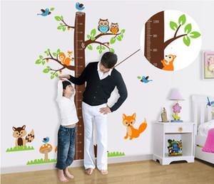 écureuils forêt animaux croissance graphique stickers muraux pour enfants chambre décoration bande dessinée art mural maison autocollants enfants cadeau hauteur mesure