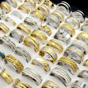 Оптовая продажа 50 шт. лот топ Rhinstone Циркон золотая пластина серебряная пластина из нержавеющей стали кольцо для мужчин и женщин свадебный подарок ювелирные изделия кольцо