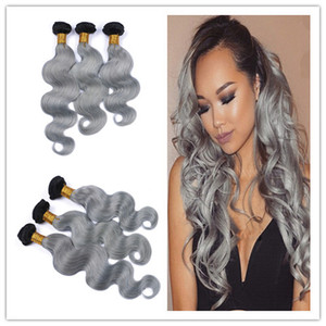 # 1B / Grey Ombre Brazilian Remy Human Hair 3Pcs Body Wave Bundles Deals Dark Roots Silver Grey Dos tonos de cabello humano teje