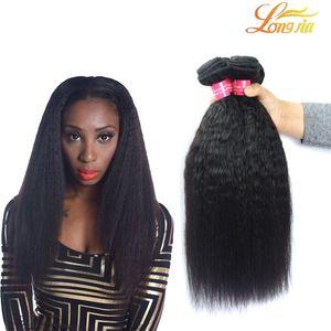 100% brésilien crépus droites vierges cheveux humains tisse 3 faisceaux indien péruvien malaisien mongol italien yaki droites extensions de cheveux