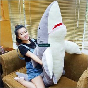 Dorimytrader Hot Large 63inches Emulational Animal Shark Plüschtier 160cm Jumbo Weiche Gefüllte Lebensechte Haie Spielen Puppe Schlafkissen