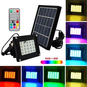 10pcs Télécommande 20LEDs RGBW SMD5050 6V 3W Solaire LED Projecteur LED En Plein Air Jardin Place Projecteur