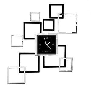 Wholesale- Modern Design Rectangle Square Wall Watch 3D Mirror Sticker Decorating Reloj Cocina Pared For Office Living Room Home Decoration