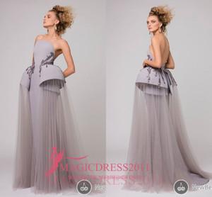 Azzi Osta Alta Costura 2019 Cinza Vestidos de Noite Vestido de Baile Sem Alças Babados Strass Longos Vestidos de Festa Formal