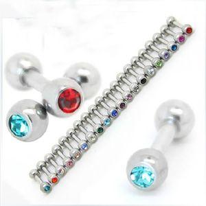 Freies Verschiffen, Großverkauf 100pcs mischen den 10 Farben-Körper-Piercing-Schmuck einzelnen Edelstein-Edelstahlohrringhelix tragus Ring