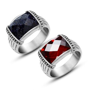 Anello con rubino per uomo indice dito Anello in acciaio satinato colorfast vintage color nero e bianco