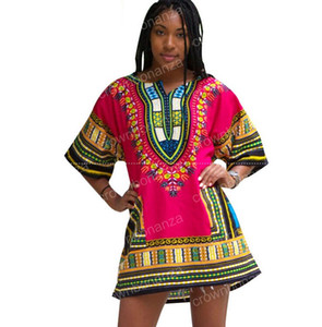 Dashiki Dress Femmes Africaines Impression Traditionnelle Dashiki Manches Courtes Bazin Riche T-shirt Vêtements Robes Africaines