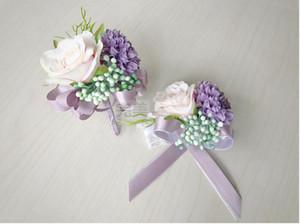 La sposa sposo fiori corpetti spille da spiaggia bouquet da sposa damigelle mazzi bouquet da polso fiori d'affari spille a tre colori