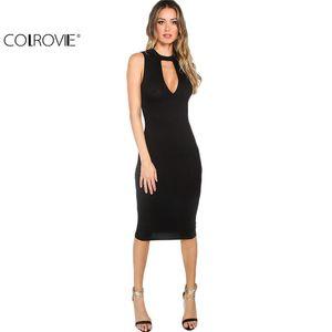 Großhandels-COLROVIE 2016 Sommer Frauen Sexy Arbeitskleidung Solid Black Cutout Front Rundhals Sleeveless Mantel Midi Kleid