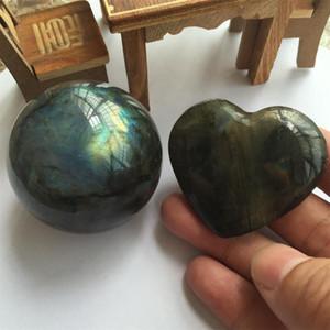 около 50 мм натуральный Лунный свет Лабрадорит хрустальный шар, натуральный лунный свет Лабрадорит тщательно вырезанные в форме сердца Кристалл ювелирные изделия.