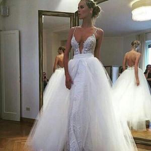 새로운 디자인 깊은 V 넥 레이스 웨딩 드레스 사용자 정의 만든 두 조각 삭제블 드레스 레이스 공 가운 웨딩 드레스 백리스 신부 가운
