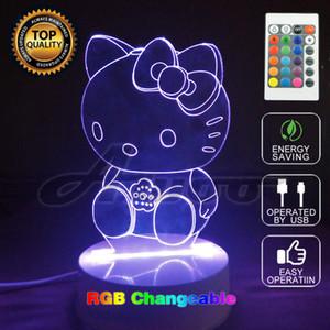 Hello Kitty 3D Lamp Colorful Cambiare LED Night Light Touch Cambia Colori Lampada da tavolo decorativa per bambini Camera da letto regalo della ragazza