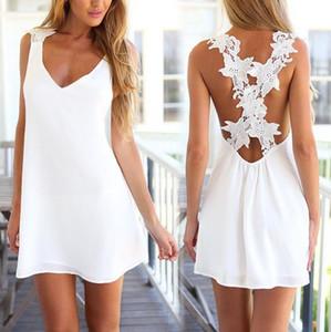 패션 새로운 도착 여성 의류 여성용 민소매 V 넥 솔리드 흰색 섹시한 꽃 크로스 미니 쉬폰 블라우스 톱 드레스