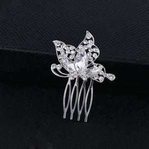Sparkly Cristal Austríaco Borboleta Do Casamento Do Cabelo Pente Tiara de Jóias De Prata Feitos À Mão Nupcial Do Cabelo Do Metal Acessórios Pente para As Mulheres