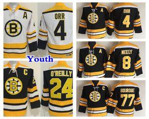 Juventud Retro Boston Bruins Hockey Jersey 8 Cam Neely 4 Bobby Orr 77 Ray Bourque 24 Terry O'Reilly Kids Vintage CCM Jerseys Negro
