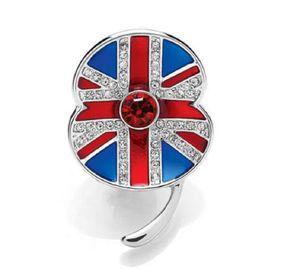 1.45 pollici tono oro bianco strass cristallo britannico UK Flag Poppy Union Jack Spilla Pins giornata ricordo