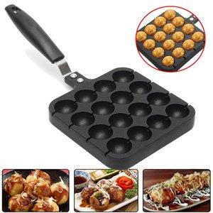 All'ingrosso- 16 fori Takoyaki Grill Pan piastra stampo Polpo Ball Maker con maniglia Home Cooking cottura Strumenti di decorazione Accessori da cucina