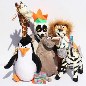 NOVO Madagascar Plush Toys Madagascar Lion Giraffe Pinguim Zebra Hippo Presente bonito para meninos crianças (6pcs / Lot / Tamanho: 25-30cm)
