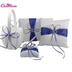 4 Unids / lote Decoración de La Boda Romántica Rhinestone Stain Ribbon Wedding Ring Pillow + Flower Basket + Libro de Visitas + Juegos de Plumas 8 Colores