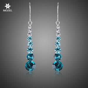 Gros platine plaqué Swarovski Elements Blue Round Stellux Cristal autrichien mariage Drop Boucles d'oreilles pour les femmes XE034