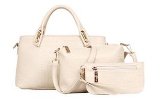 Новое прибытие 3 шт. Набор женщин сумки Сумки мода классический Аллигатор искусственная кожа дизайнер сумки Леди плечо натуральная кожа сумки и кошелек