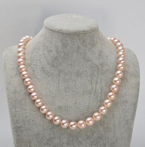 9-10mm South Pearl Pink Natural Pearl Necklace 17 pollici collane di perline Accessori in argento 925