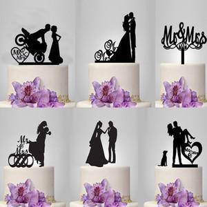 웨딩 케이크 토퍼 미스터 부인 신부와 신랑 아크릴 웨딩 케이크 장식 컵케익 toppers